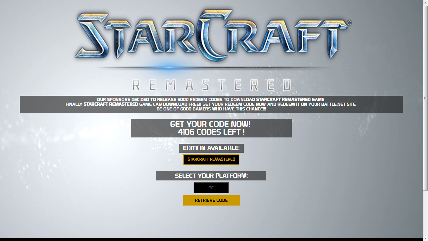 StarCraft Remastered Serial Key